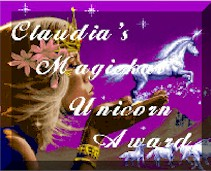 Magickal Unicorn Award from Ask Claudia web site.Award.